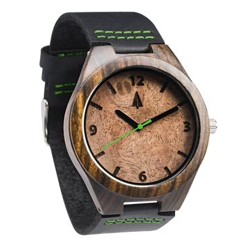 Ebony Watch // Walnut Burl Green