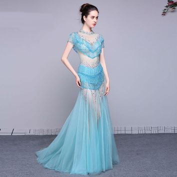 Mermaid Cap sleeve Beads Long Prom Dresses Sweep train Evening Prom Party Dress Prom gown