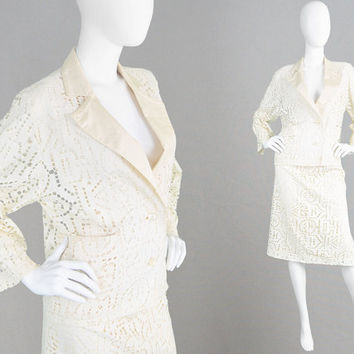 Vintage 80s TED LAPIDUS Two Piece Jacket & Skirt Suit Cream Lace Suit Laser Cut Fabric See Through Jacket Mother of the Bride High Waist