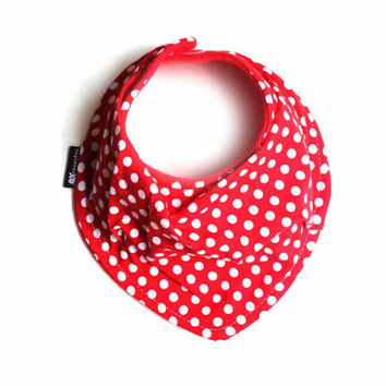 Red and white polka dots - Infant and/or Toddler bandana bib - Drool bib - Baby scarf - READY to SHIP - soft fabric