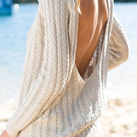 Backless Cowl Neck Long Sleeve Sweater