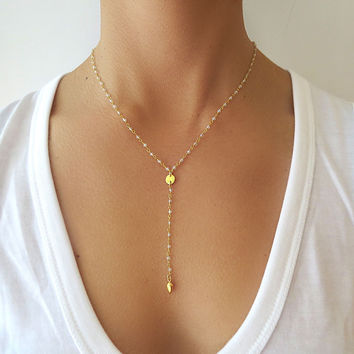 Gold Disc Lariat Necklace