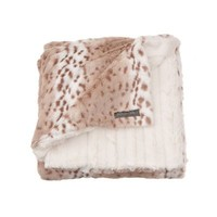 Kelly Van Halen Snow Leopard/Ivory Mink Faux Fur Reversible Sofa Throw Blanket