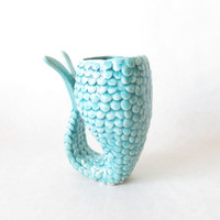Mermaid beer cup, Fish beer mug,light blue turquoise glass,Ceramics and Pottery,tumbler
