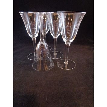 Flared Etched Wine Goblets  S/5
