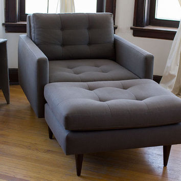 Crate and Barrel Petrie Chair and Ottoman