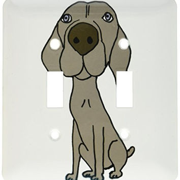 3dRose lsp_200123_2 Cute Weimaraner Puppy Dog Cartoon Light Switch Cover