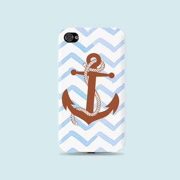 Blue Watercolor Chevron & Brown Anchor Plastic white Hard Case - iphone 5 - iphone 4 - iphone 4s - Samsung S3 - Samsung S4 - Samsung Note 2