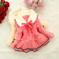 Girls Kids Baby Toddler Faux Fur Fleece Lace Thicken Jacket Coat Lined Outwear