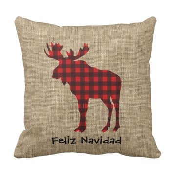 Burlap & Lumberjack Plaid Moose Throw Pillow