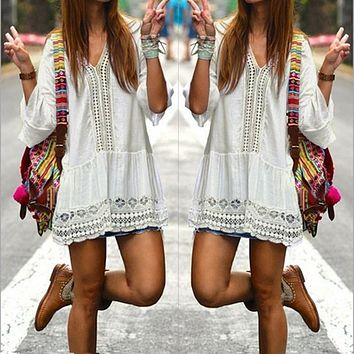 Vestidos 2017 Boho Style Women Summer White Dress Sexy Casual V Neck 3/4 Flare Sleeve Lace Crochet Loose Mini Beach Dresses