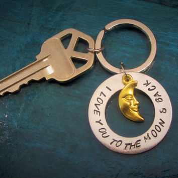 Fast Shipping Key Fob Hand Stamped Key Chain I Love You to the Moon and Back Moon Shaped Key Chain with gold Moon accent charm