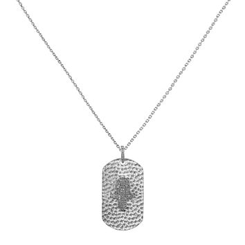 0.53ct Pavé Diamonds in 925 Sterling Silver Hamsa Hand Dog Tag Pendant Necklace