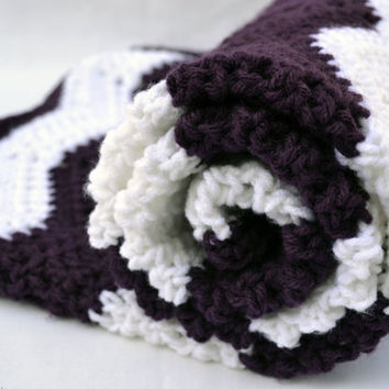 chevron crochet baby blanket, textured photo prop in deep plum and white