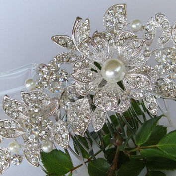 """Crystal and Pearl Bridal Hair Comb """"Garden of Eve"""", Wedding Hair Pieces, Rhinestone Combs, Wedding Hair Accessories, Bridal Headpieces"""