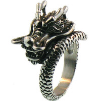 316L Stainless Steel 3D Dragon Ring Sz 8 - 16
