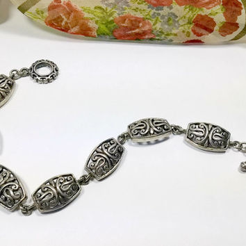 Sterling Silver Openwork Filigree Chain Link Bracelet with Toggle Clasp 7.5 Inches Pretty Filigree Pattern Hallmarked 925 Nice!
