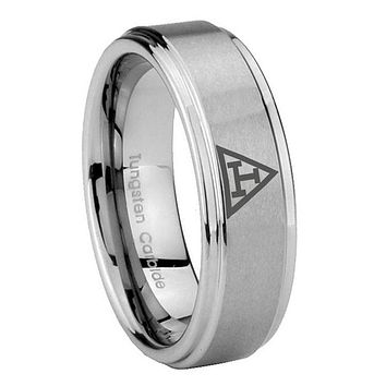 8MM Masonic Triple Step Edges Silver Tungsten Carbide Laser Engraved Ring