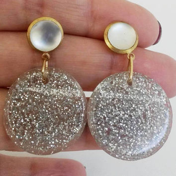 Re Purposed Silver Glitter Plastic Dangle Pierced Earrings Gold Tone Frosted Cabs OOAK Festive Holidays