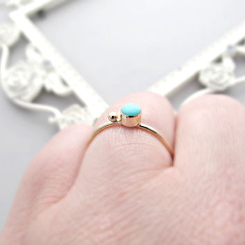 Turquoise Ring, Solid 14k Ring, 14kt Gold Ring, Gold Turquoise Ring, Engagement Ring, Engagement Jewelry, Turquoise Jewelry, 14kt Jewelry