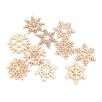 10pcs Christmas Wooden Snowflakes Hanging Ornament Decoration Drop Pendants (Wood Color)