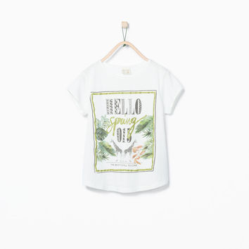 LEAVES, ANIMALS AND TEXT T-SHIRT