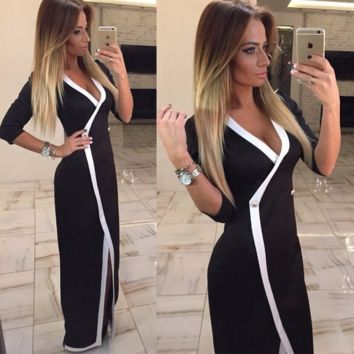 Beautiful Mid Sleeve V-Neck Long Maxi Dress