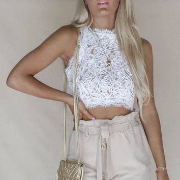 Jolie Cropped Rope Lace Top