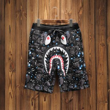 Hcxx 19June 172 AAPE Camouflage nocturnal shark print cotton breathable shorts Black