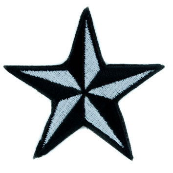 White Nautical Star Patch Iron on Applique Alternative Clothing Tattoo Rockabilly Symbol