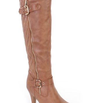 Tan Stitched Knee High Heel Boots Faux Leather