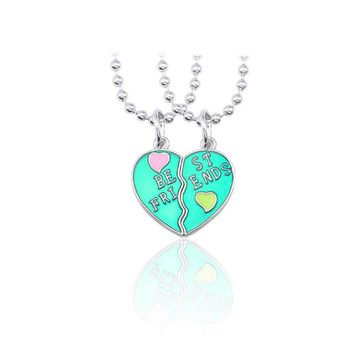Trendy Best Friends Forever Necklace BFF Necklaces For Women Broken Love Heart Pendant Blue Green Necklaces&Pendants Christmas