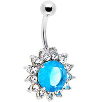 Aqua Crystal CUBIC ZIRCONIA YORKSHIRE Belly Button Ring | Body Candy Body Jewelry