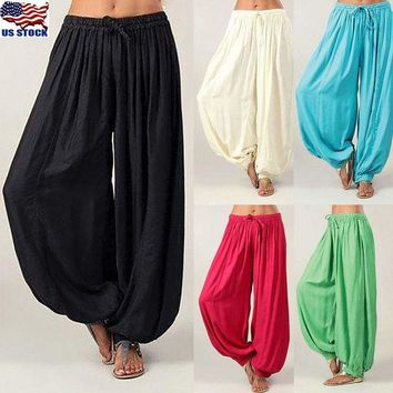 Women Plus Size Cotton Linen Casual Loose Harem Pants Yoga Baggy Pants Trousers
