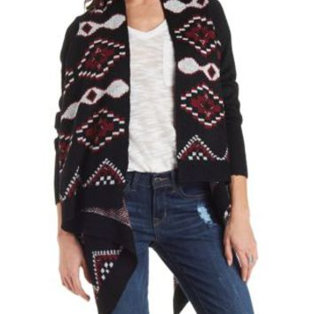 Black Combo Aztec Blanket Cardigan Sweater by Charlotte Russe