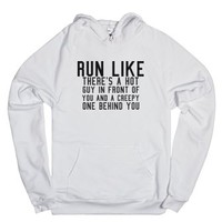 Run Like.-Unisex White Hoodie