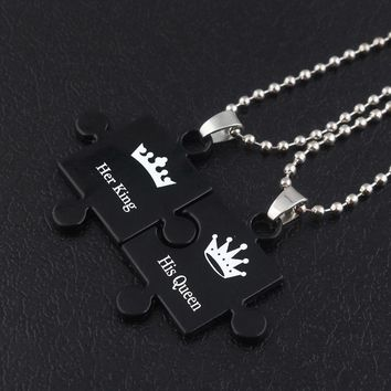 Cool SG Newest Her King Her Queen Letter Couple Necklaces Pendants Hot Sell Black Jigsaw Shape Women Men Lover Valentine's Day GiftAT_93_12