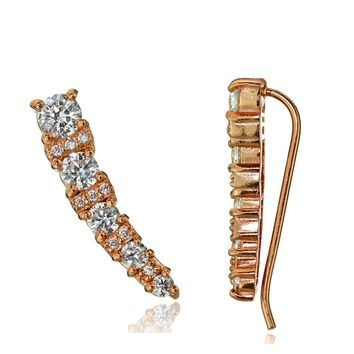Rose Gold Tone over Sterling Silver CZ Graduating Crawler Climber Hook Earrings