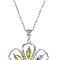 Sterling Silver Multiple Gemstone Large Flower Pendant Necklace, 18""