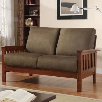 HomeHills 229912-2OL Mission Loveseat with Olive Microfiber