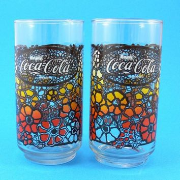 6 Coca Cola Coke 1970s Flower Power Glasses by JollyPollyPickins