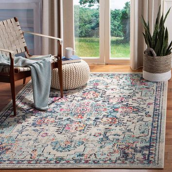 0114 Ivory Blue Medallion Vintage Distressed Oriental Area Rugs