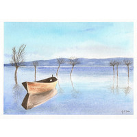 Original watercolor painting - Boat on the lake