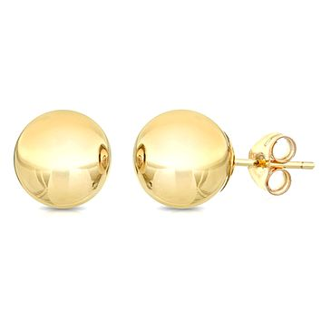 10K Yellow Gold Ball Stud Earrings