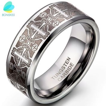 BONISKISS 8mm Vintage Gothic Laser Etched Cross Tungsten Engagement Rings For Men High Quality Mens Jewellery anillos hombre