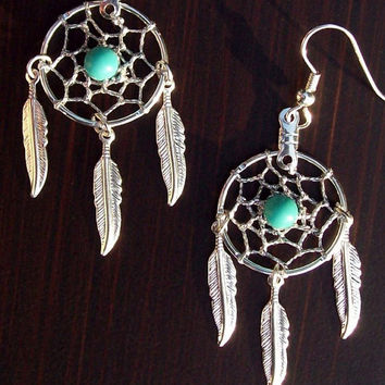 BLUE SKY ll - Dreamcatcher earrings Silver with Turquoise