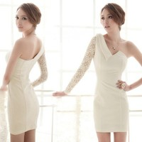 Classy One-shoulder Lace Sleeve Dress