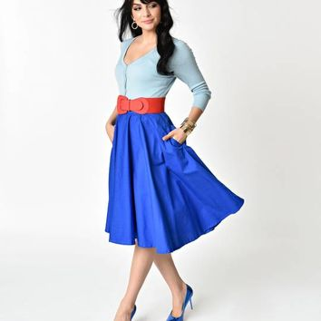 1950s Style Royal Blue Cotton Swing Skirt