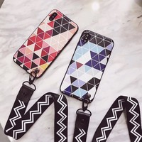 Colorful Geometric TPU Back for iPhone 7, 7 Plus, 8, 8 Plus, X  (w/ strap)