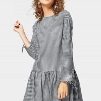 Back Button Embellished Long Sleeve Checked Dress